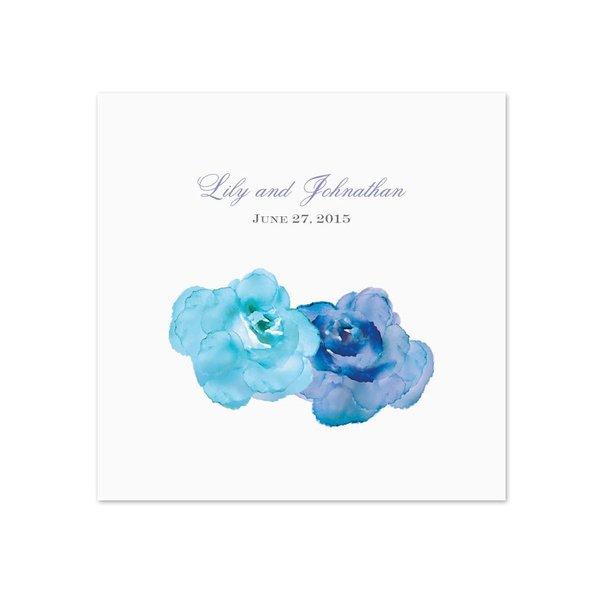Watercolor Roses - Blue - White Dinner Napkin