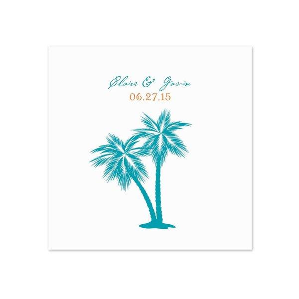 Tropical Palms - White Dinner Napkin