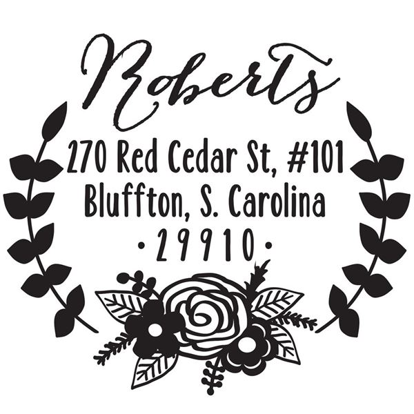 Floral Address Stamp