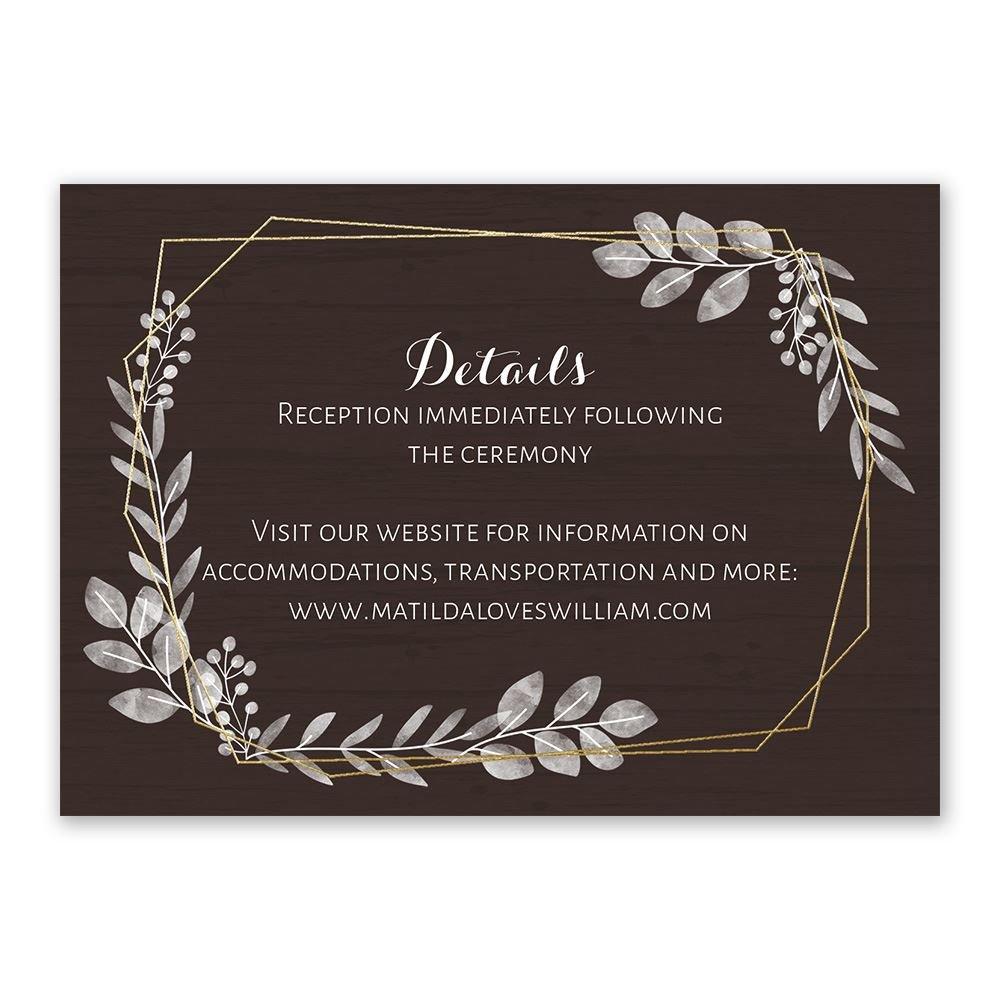 botanical frame foil reception card  invitationsdawn